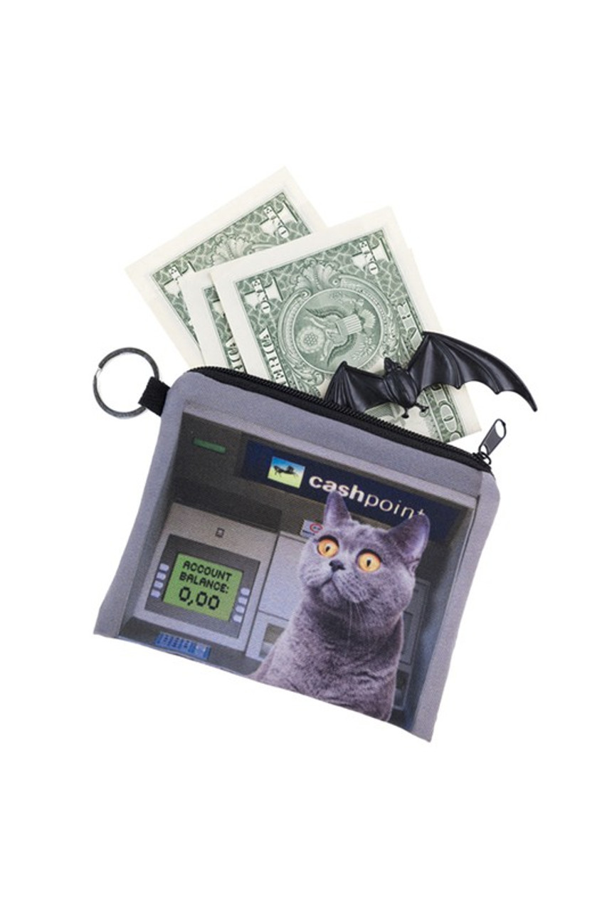 ATM Kitty Cat Graphic Print Coin Purse