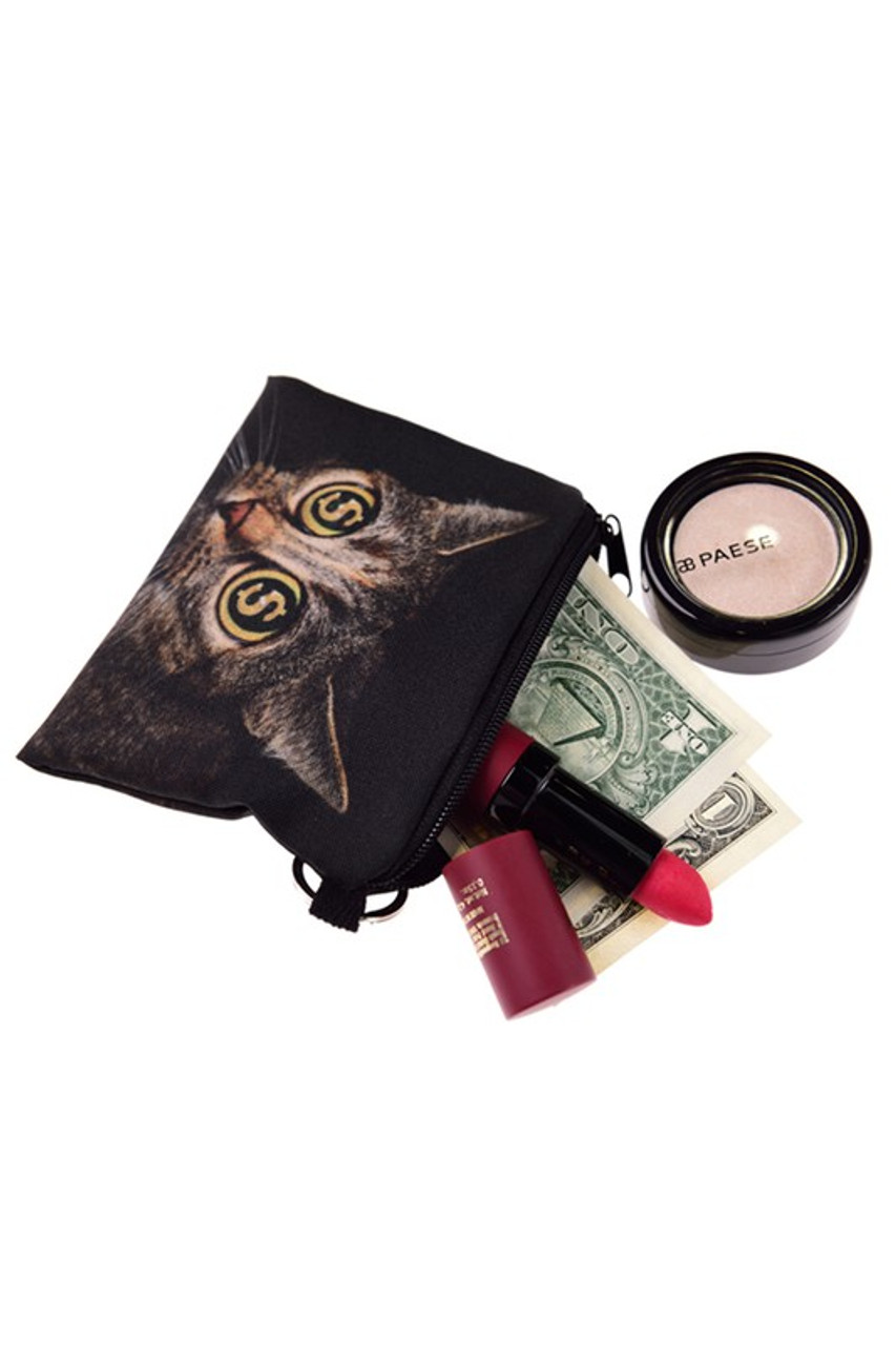 Dollar Sign Cat Eyes Graphic Print Coin Purse with Money and Makeup  Sticking Out