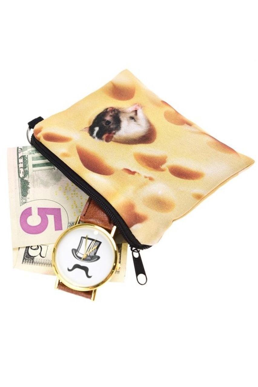 Mouse and Cheese Graphic Print Coin Purse shown open with cash and a watch sticking out