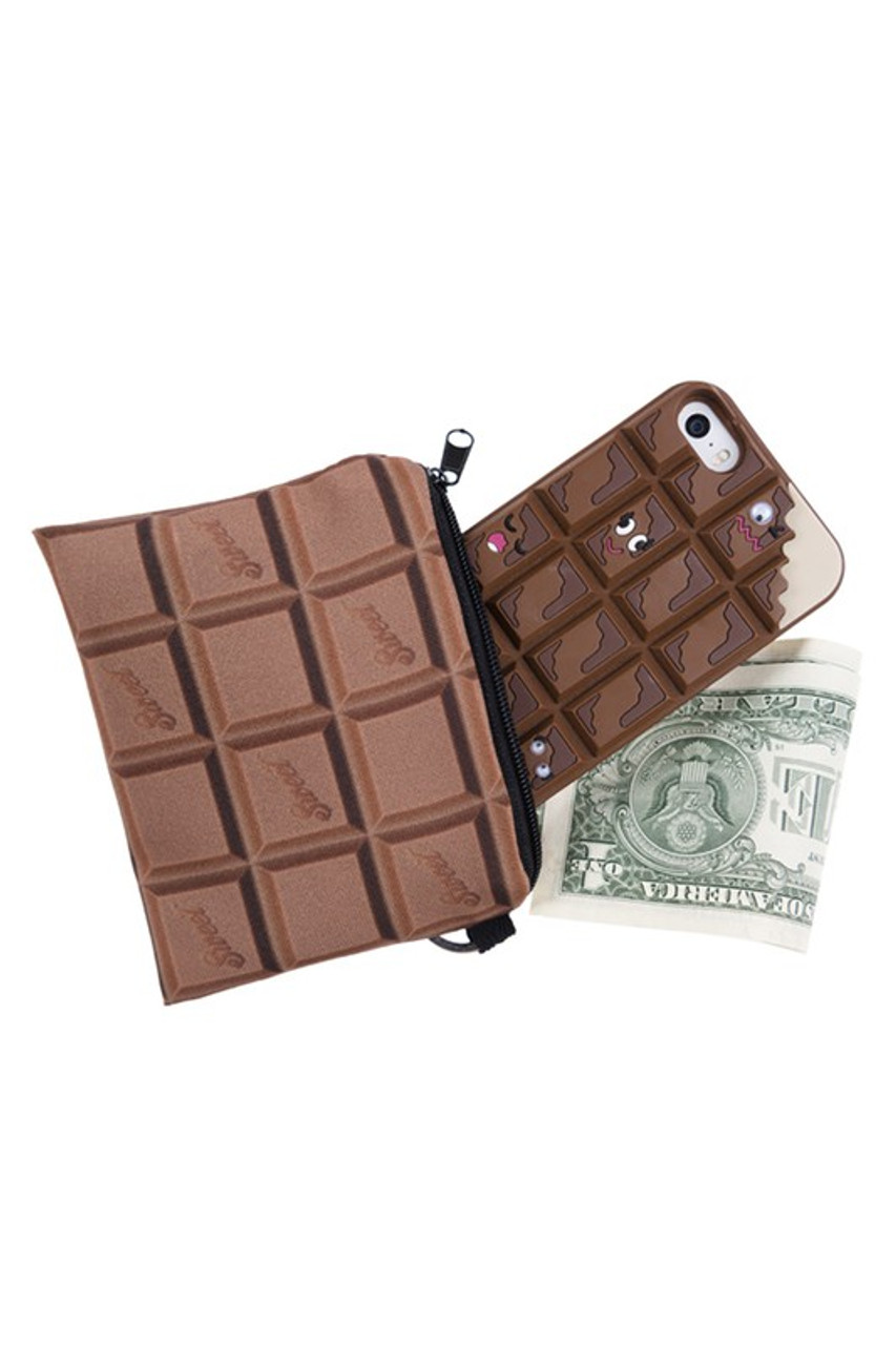 Chocolate Bar Graphic Print Coin Purse shown with cash and a phone sticking out