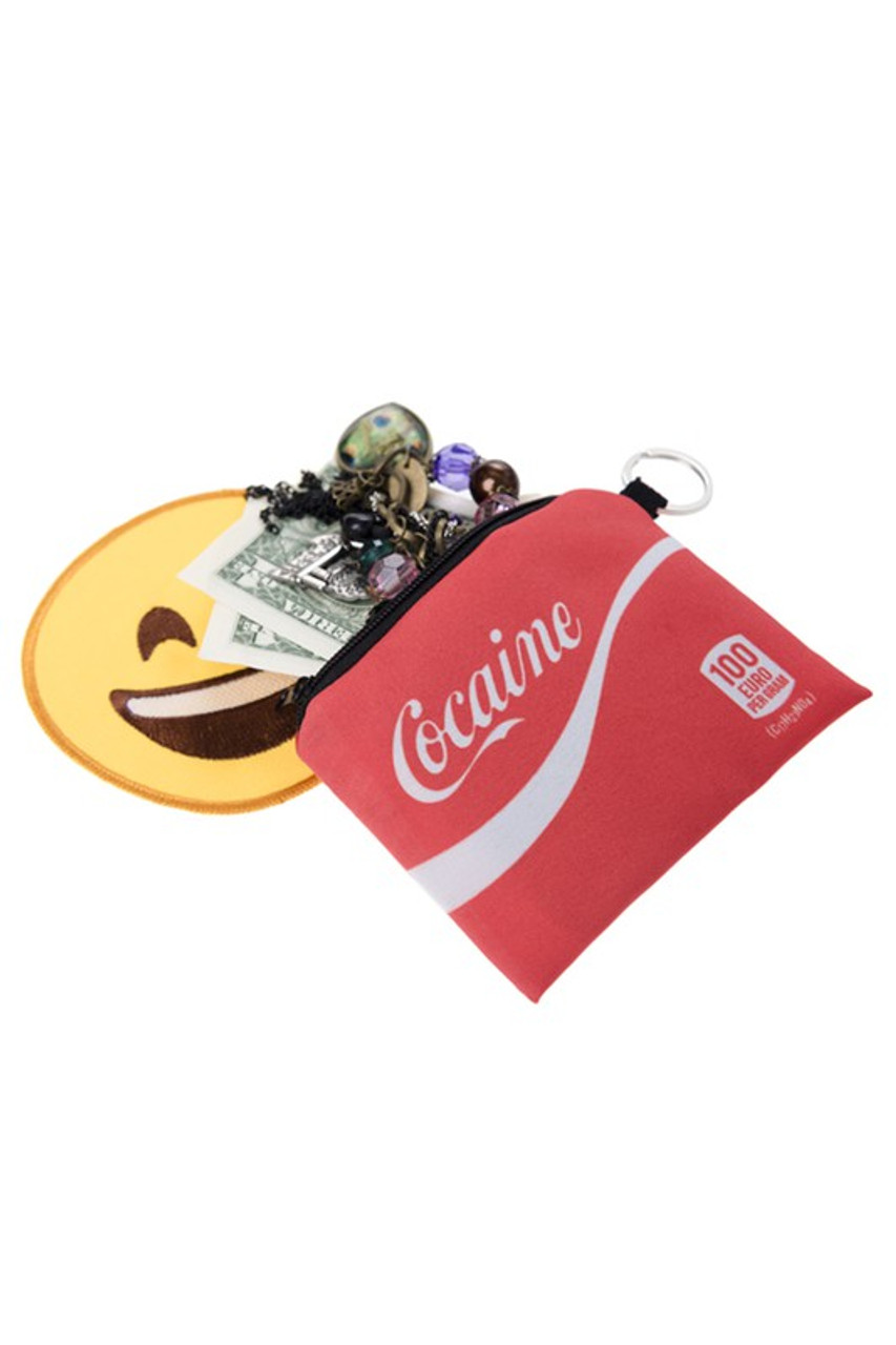 Cocaine Graphic Print Coin Purse with cash and jewelry sticking out