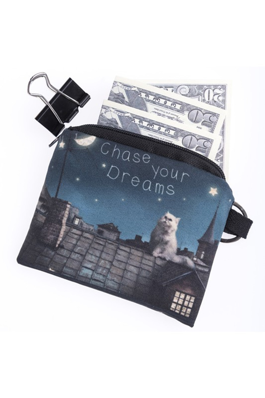 Chase your Dreams Kitty Cat Graphic Print Coin Purse with cash sticking out