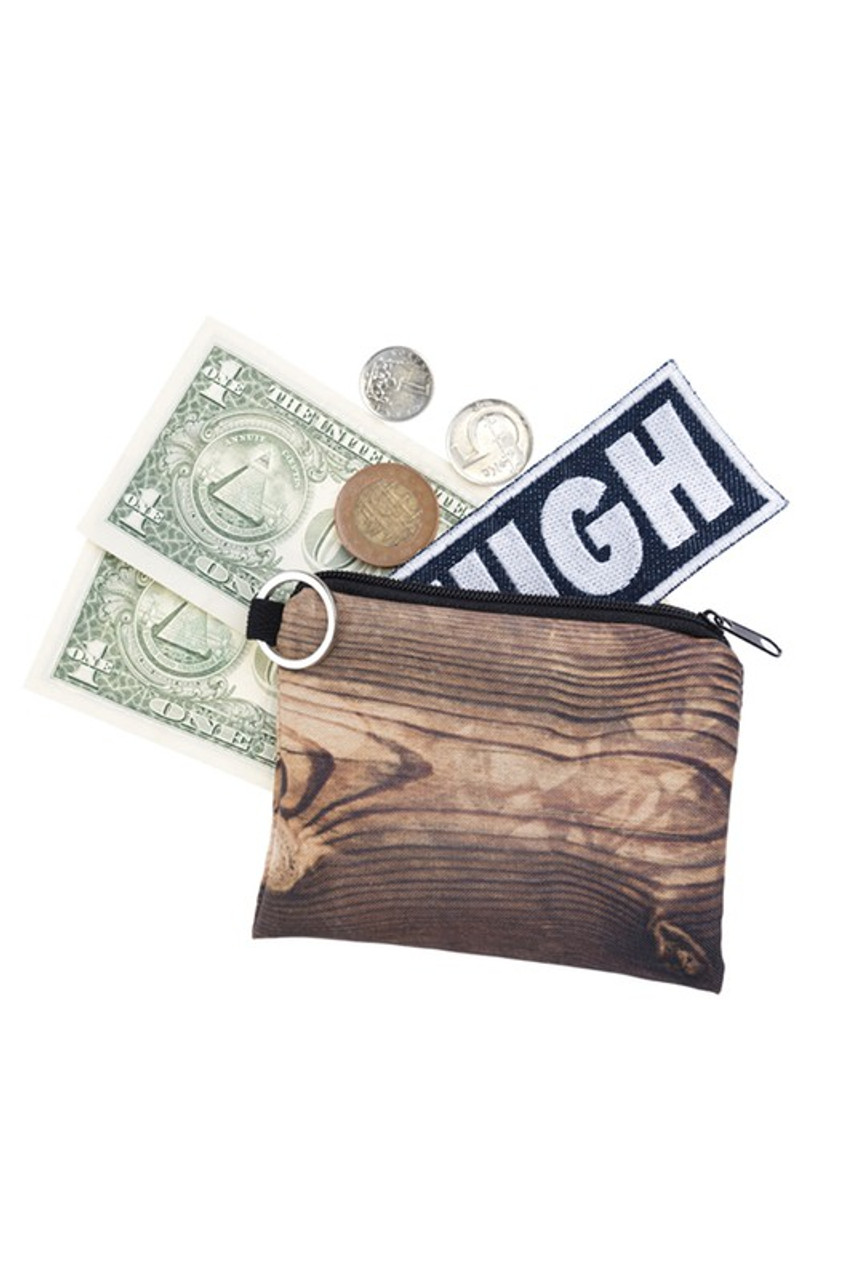 Wood Graphic Print Coin Purse with cash and coins sticking out