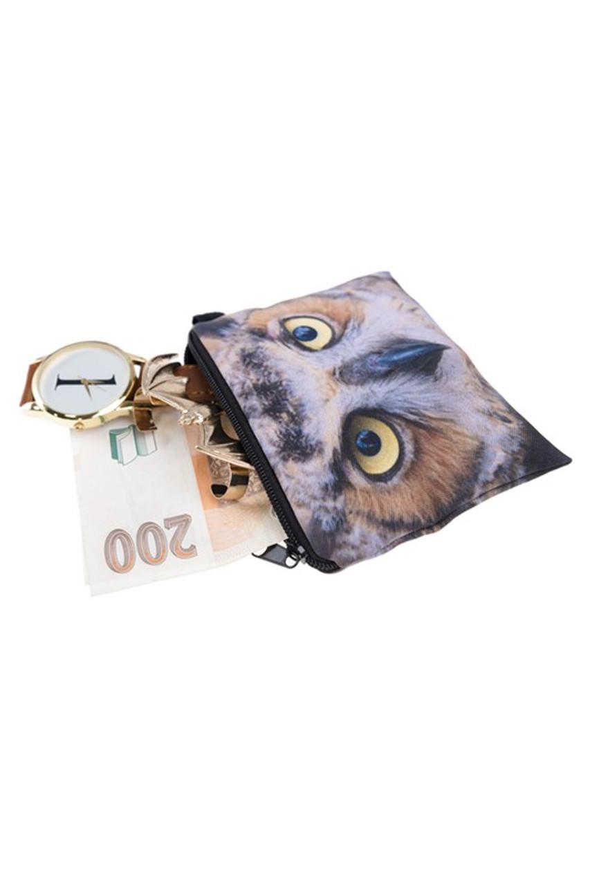 Owl Graphic Print Coin Purse