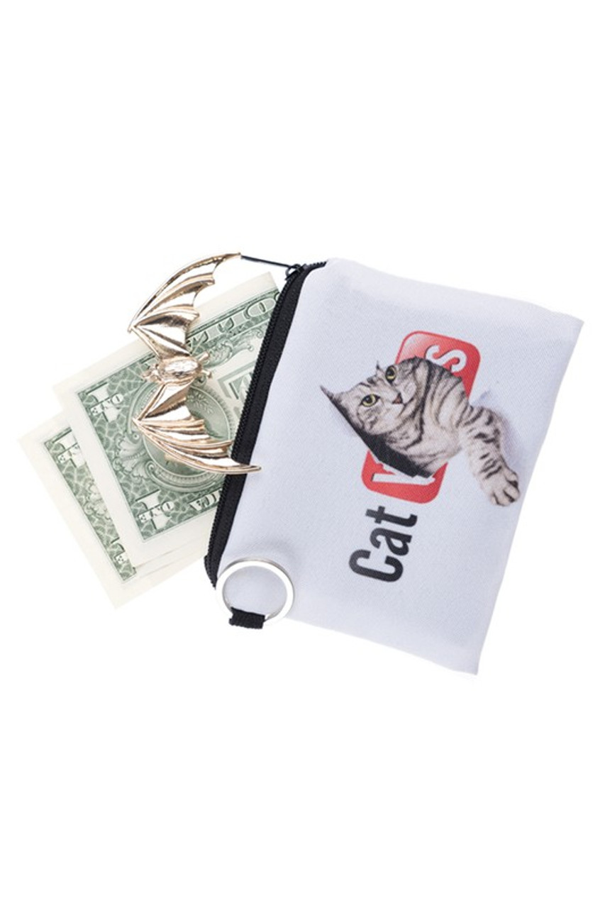 Kitty Cat Tube Graphic Print Coin Purse