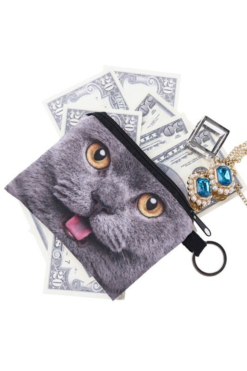 Charcoal Kitty Cat Graphic Print Coin Purse