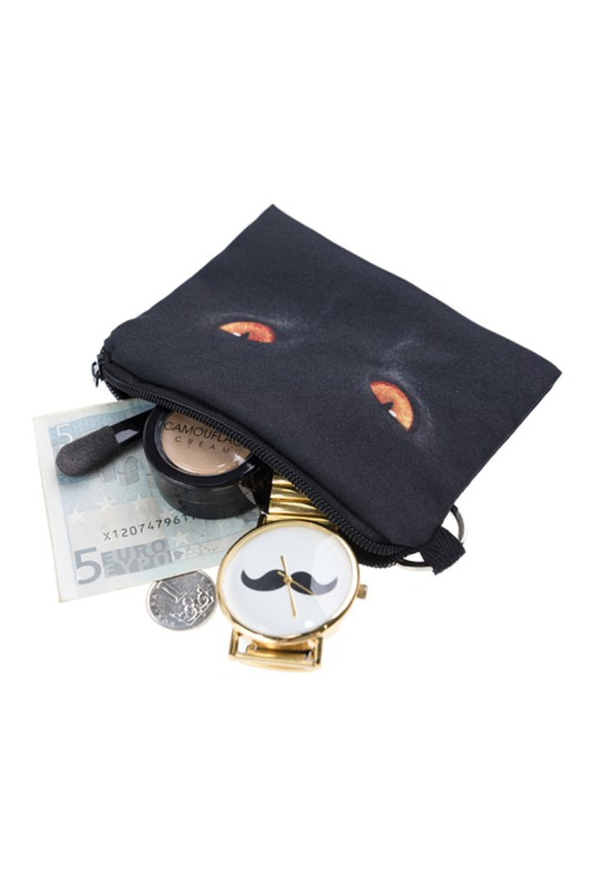 Black Cat Eyes Graphic Print Coin Purse