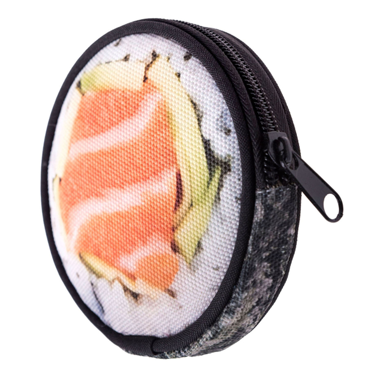 45 degree view of Sushi Round Graphic Print Coin Purse - 18 Styles