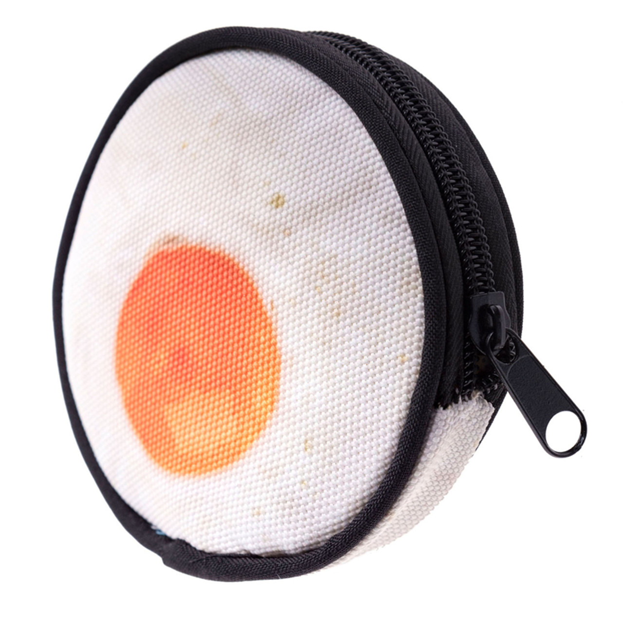 45 degree view of Fried Egg Round Graphic Print Coin Purse - 18 Styles