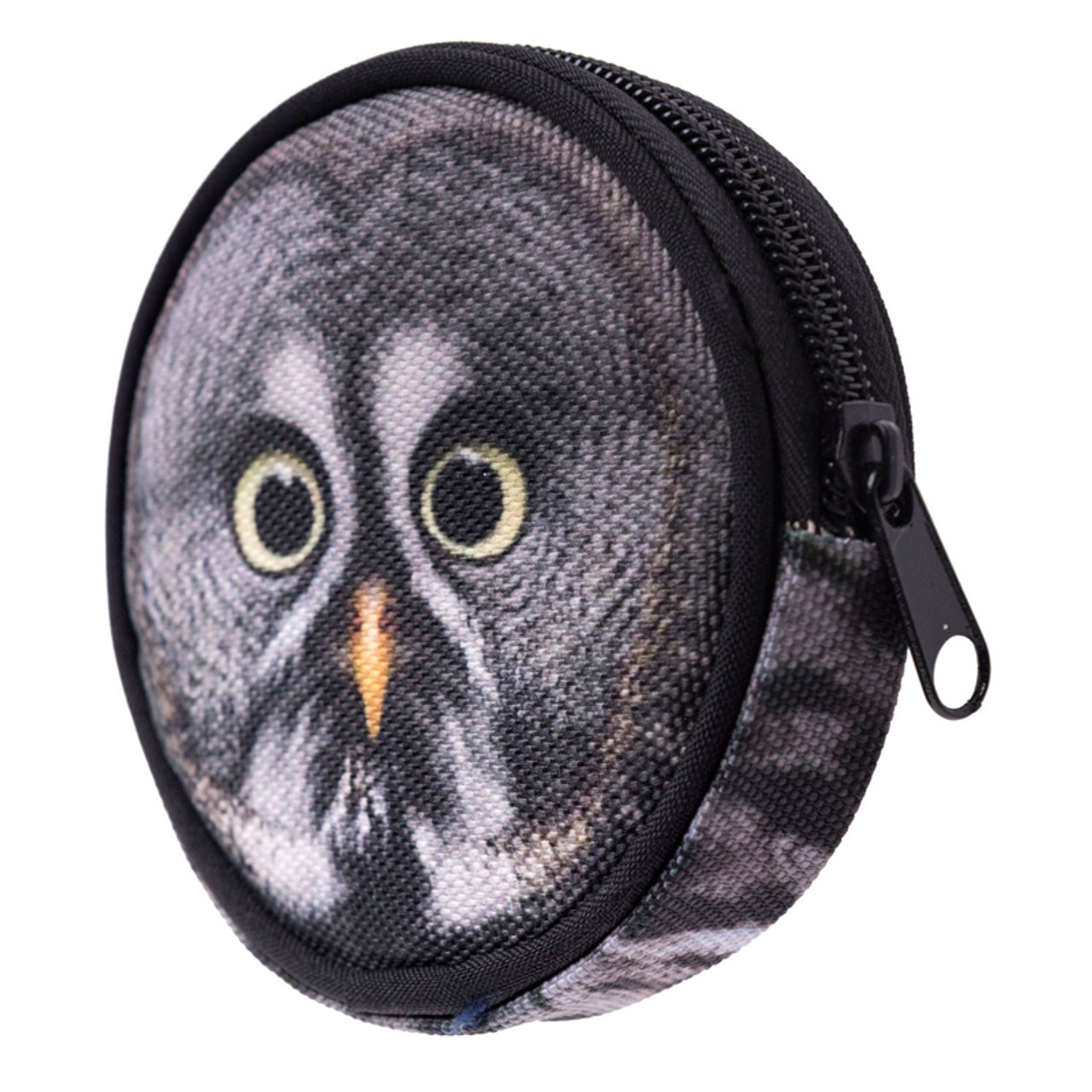 45 degree view of Gray Owl Round Graphic Print Coin Purse - 18 Styles