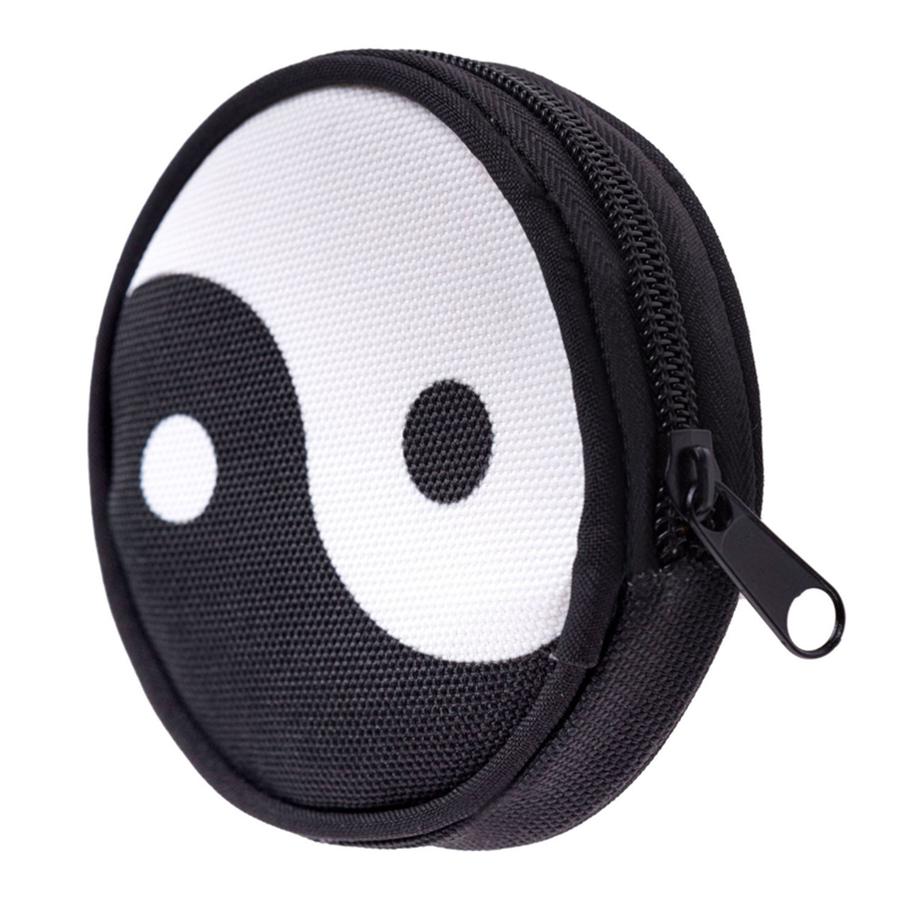 45 degree view of Yin Yang Round Graphic Print Coin Purse - 18 Styles