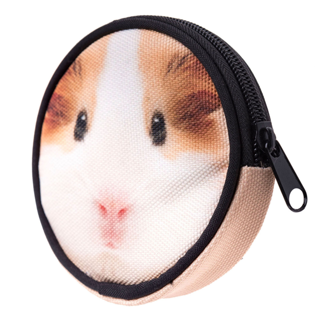 45 degree view of Guinea Pig Round Graphic Print Coin Purse - 18 Styles