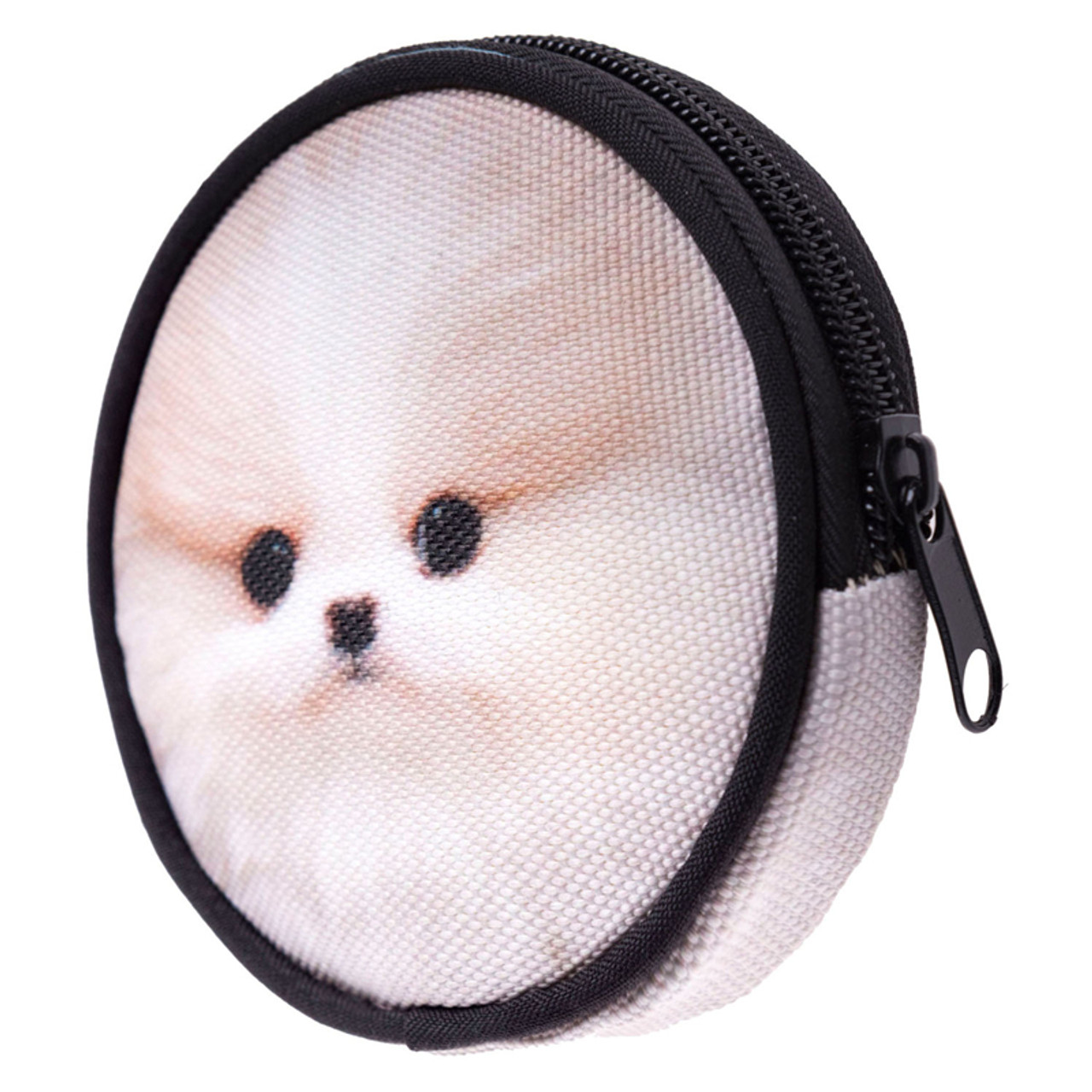 45 degree view of Puppy Round Graphic Print Coin Purse - 18 Styles