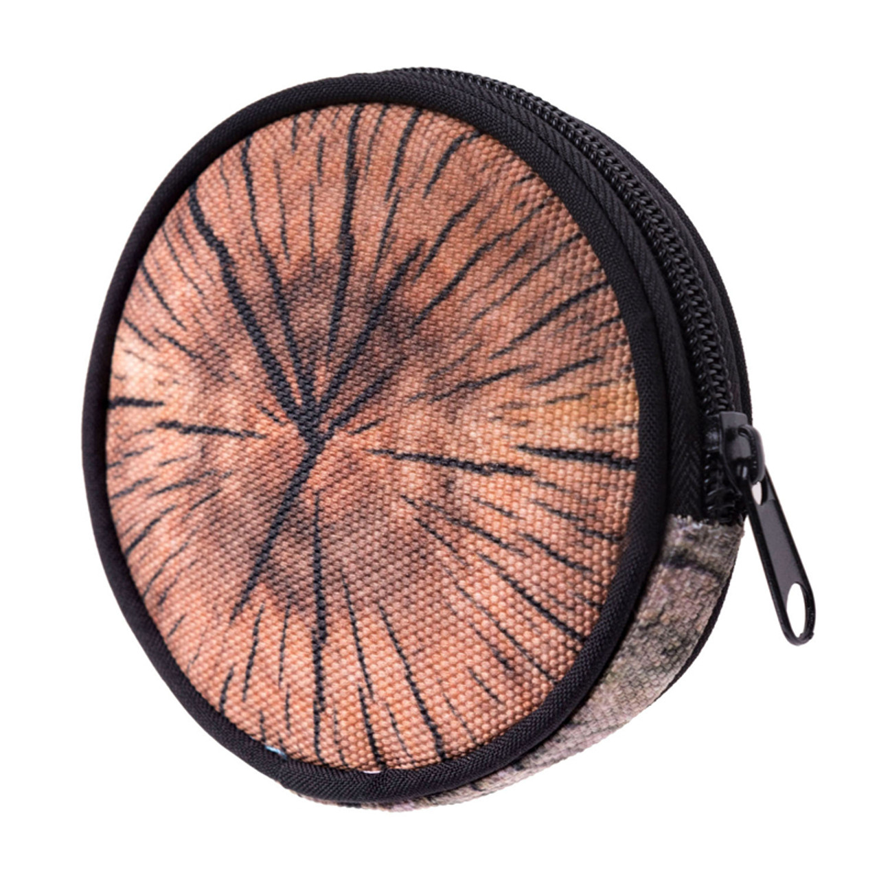 45 degree view of Wood Round Graphic Print Coin Purse - 18 Styles
