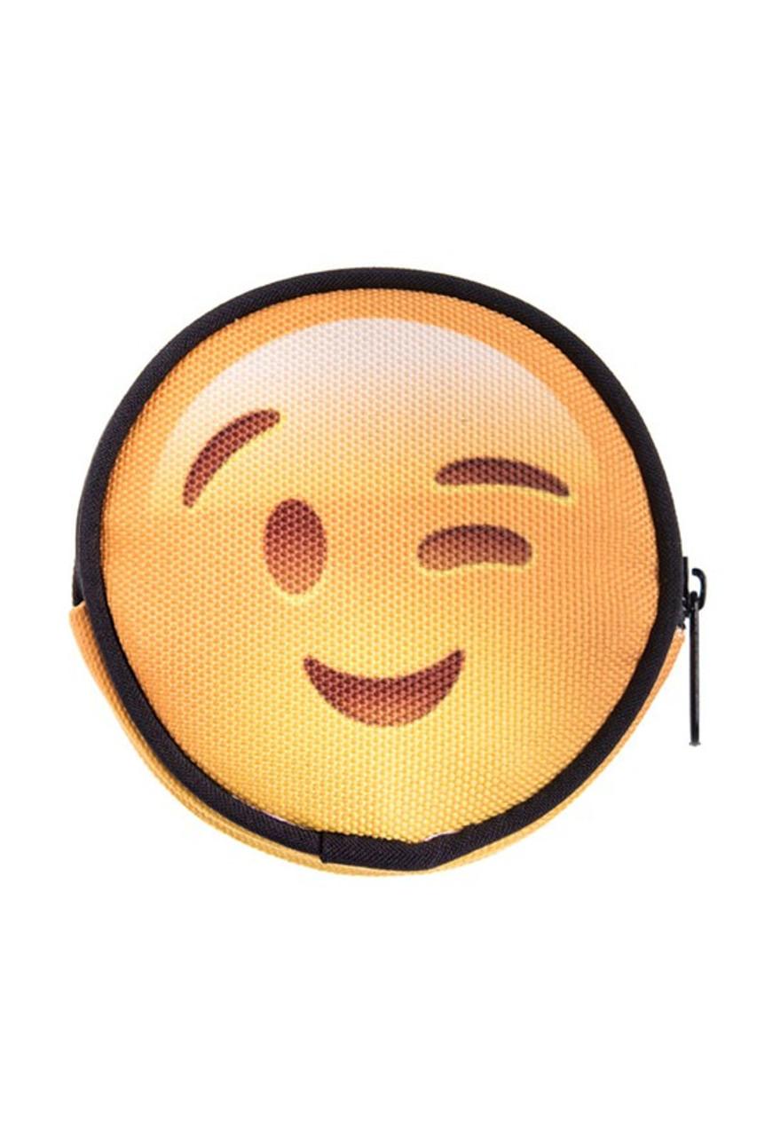 Winking Emoji Round Graphic Print Coin Purse - 18 Styles