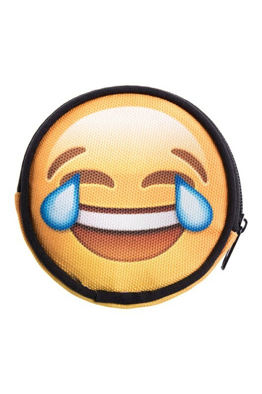 Emoji Laughing Tears Round Graphic Print Coin Purse - 18 Styles