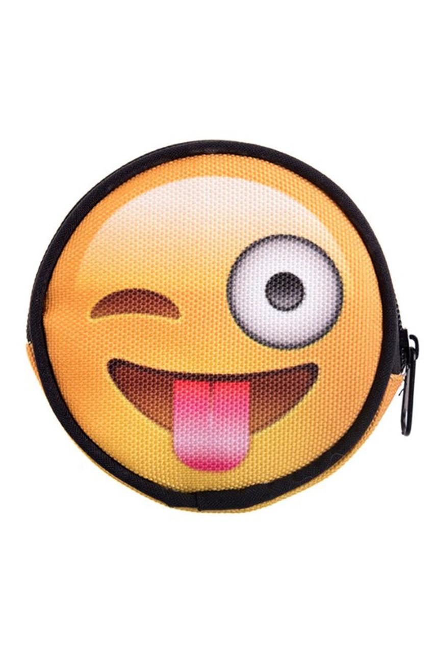 Emoji Tongue Round Graphic Print Coin Purse - 18 Styles