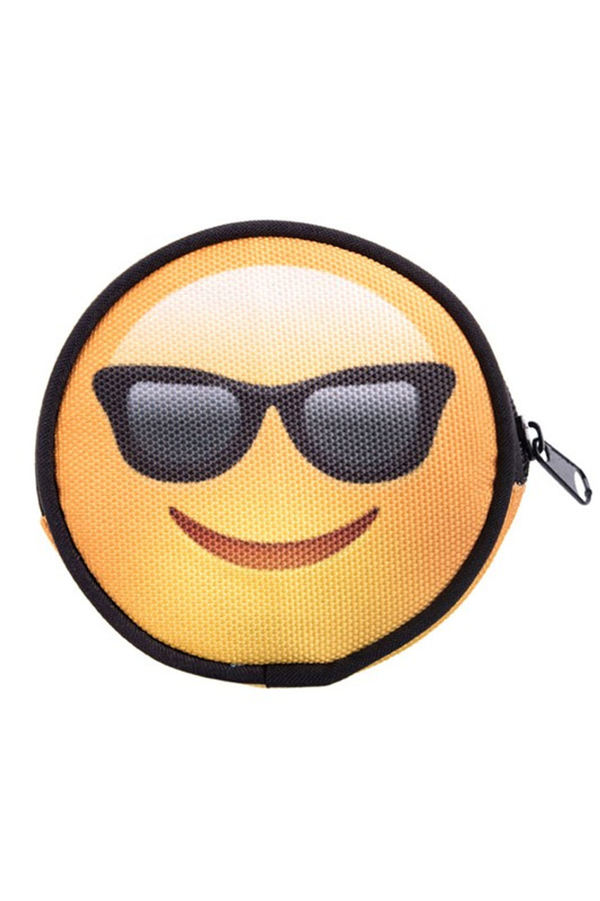 Emoji Sunglasses Round Graphic Print Coin Purse - 18 Styles
