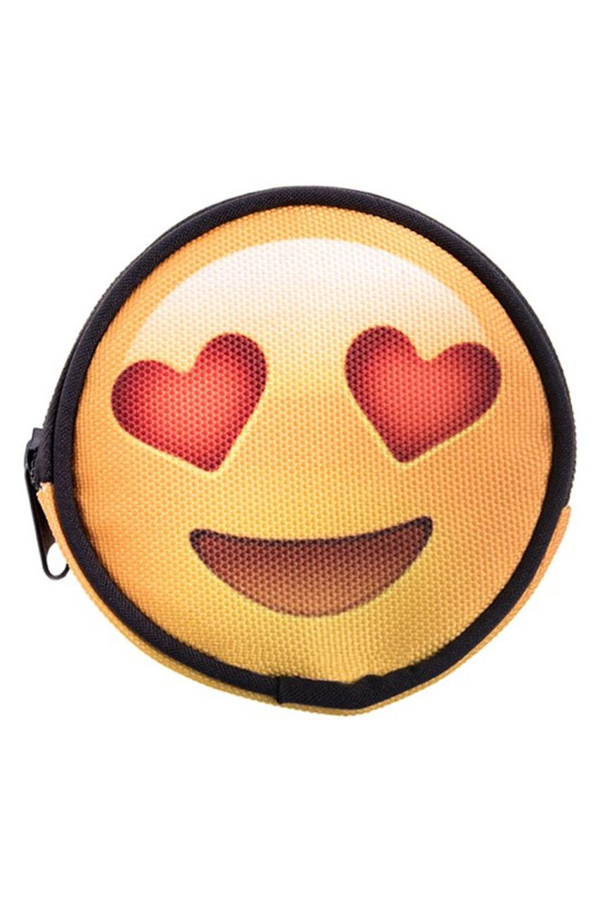 Emoji Heart Eyes Round Graphic Print Coin Purse - 18 Styles