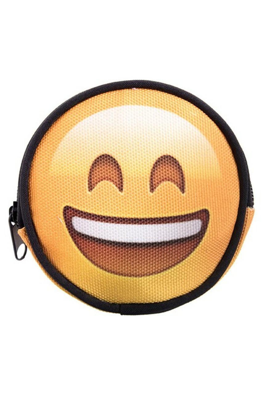 Emoji Happy Round Graphic Print Coin Purse - 18 Styles