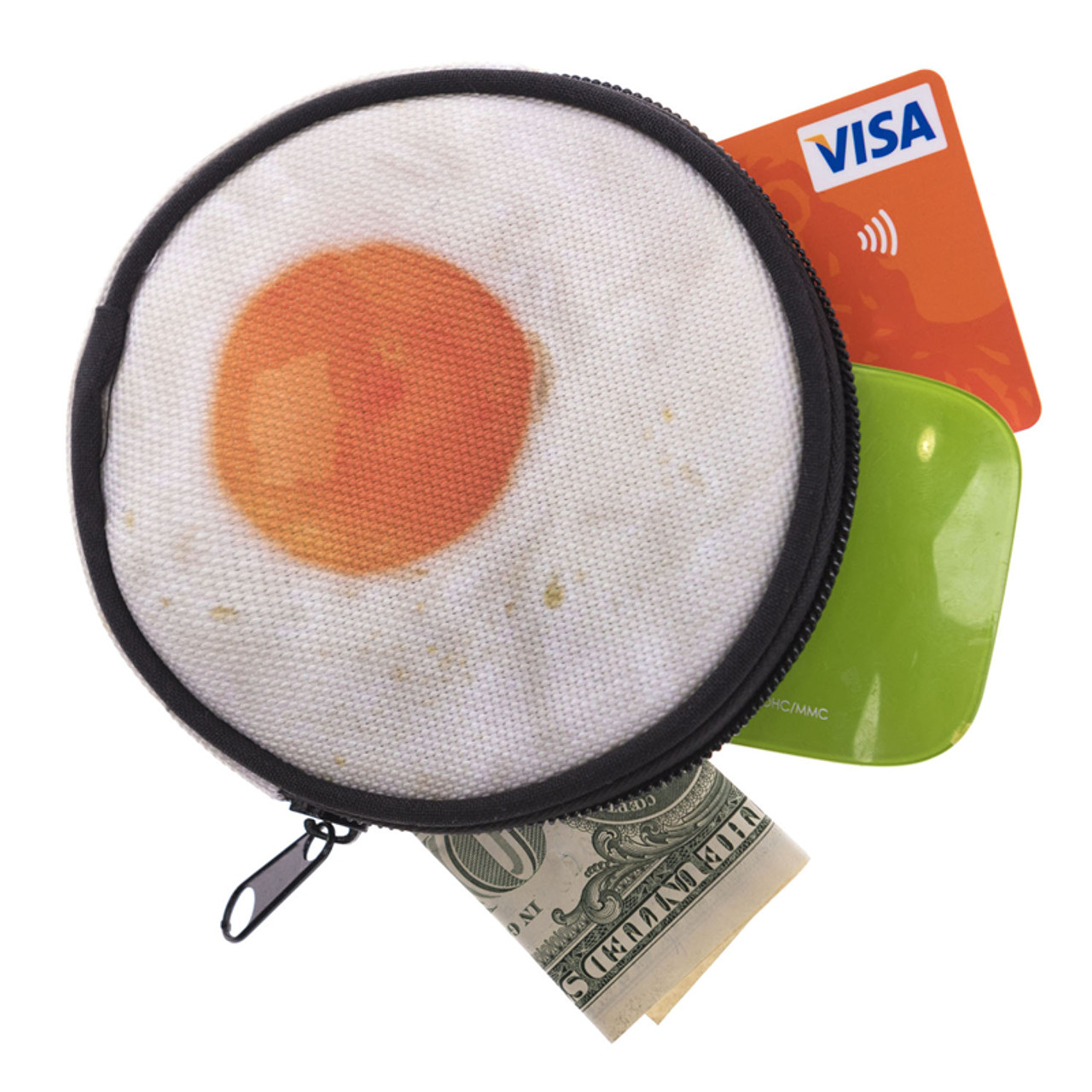 Fried Egg Round Graphic Print Coin Purse - 18 Styles shown with cash and cards sticking out
