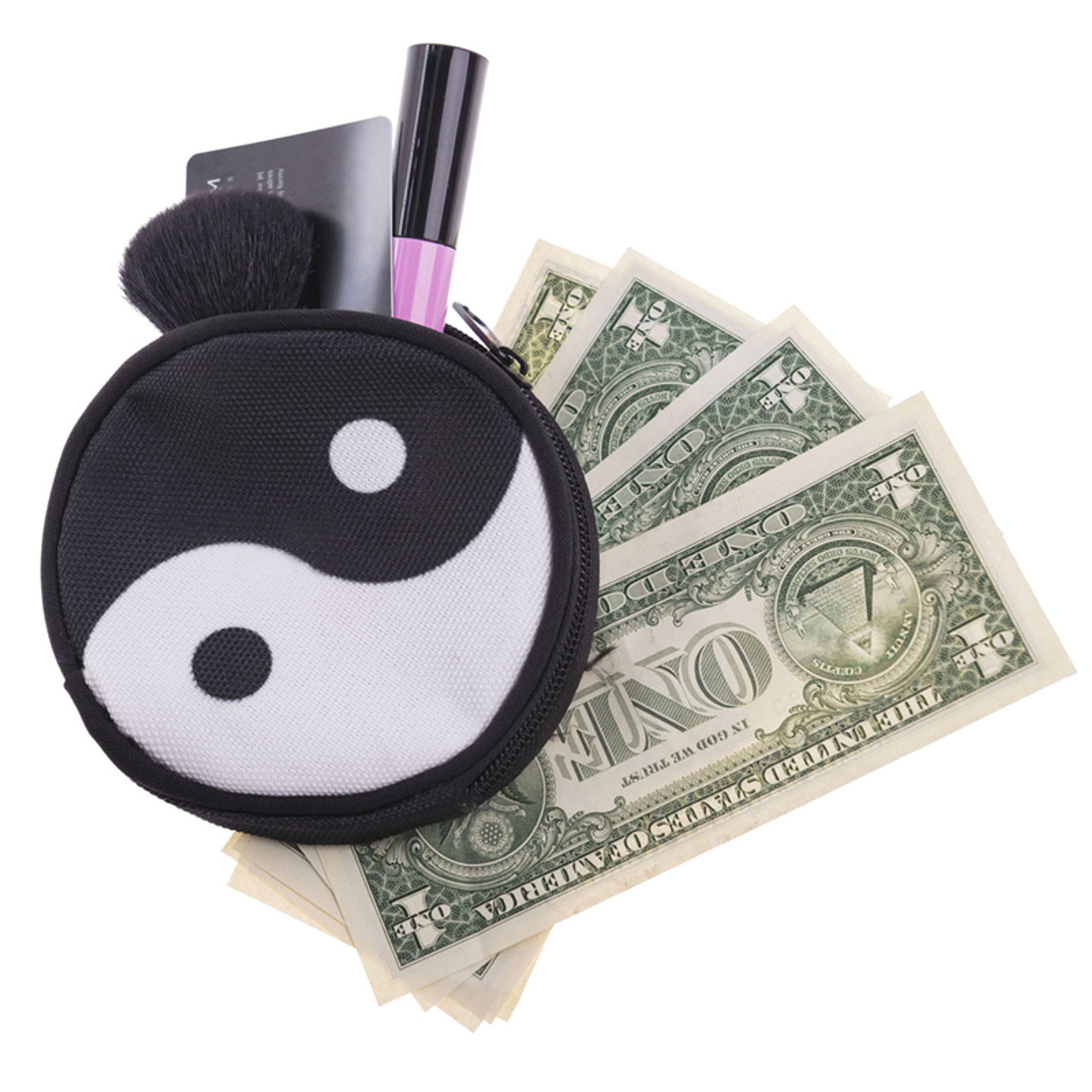 Yin Yang Round Graphic Print Coin Purse - 18 Styles shown with cash, card, and lip gloss sticking out.