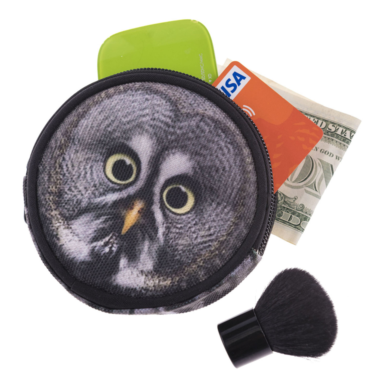 Gray Owl Round Graphic Print Coin Purse - 18 Styles next to a kabuki brush with cash and cards sticking out