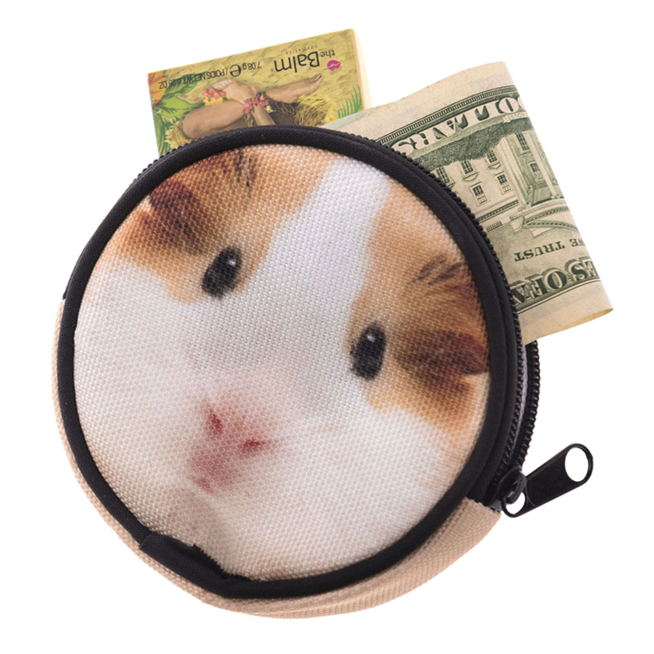 Guinea Pig Round Graphic Print Coin Purse - 18 Styles with cash and cards sticking out