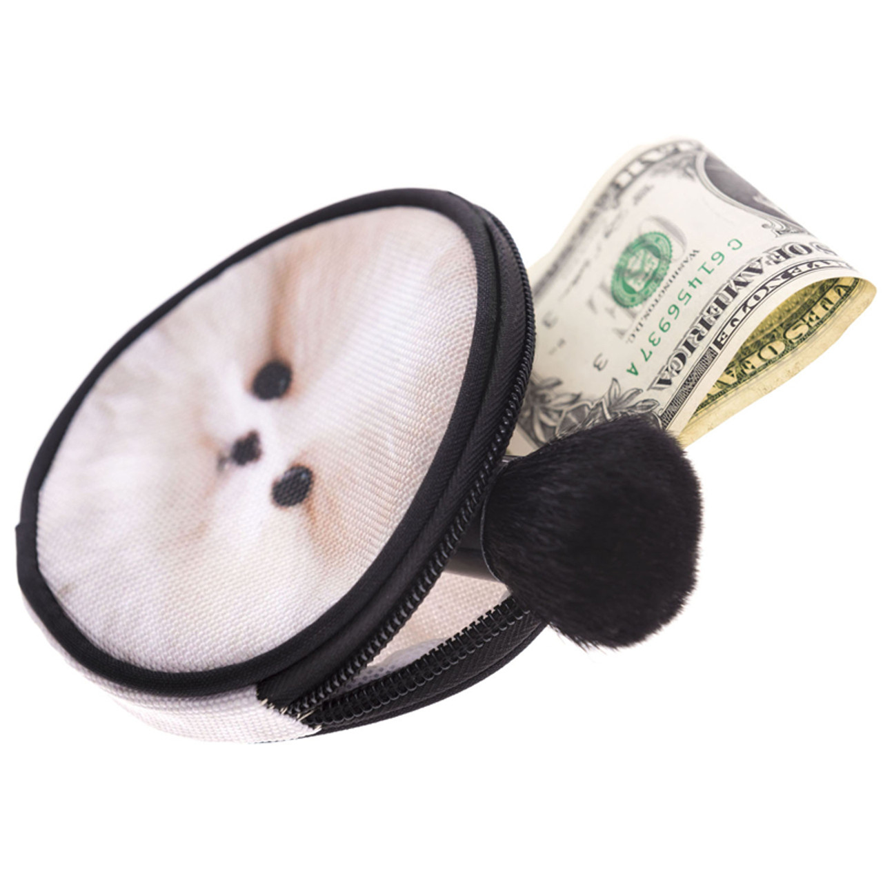 Puppy Round Graphic Print Coin Purse - 18 Styles shown with cash and makeup brush sticking out