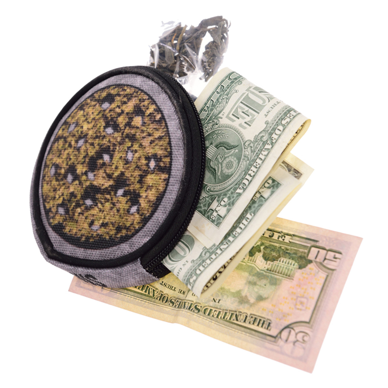 Weed Grinder Round Graphic Print Coin Purse - 18 Styles shown with cash and marijuana sticking out