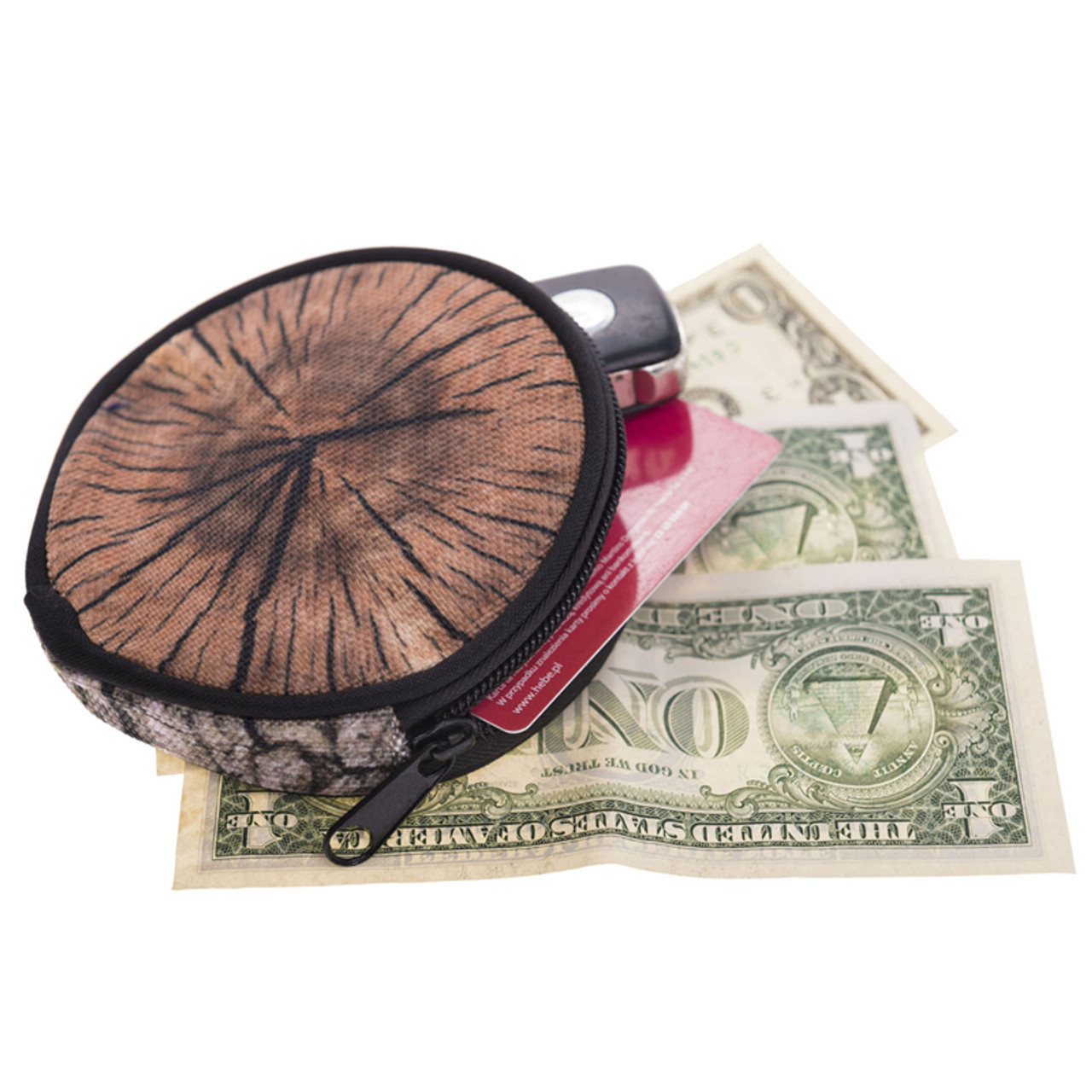 Wood Round Graphic Print Coin Purse - 18 Styles shown with cash, card, and keys sticking out