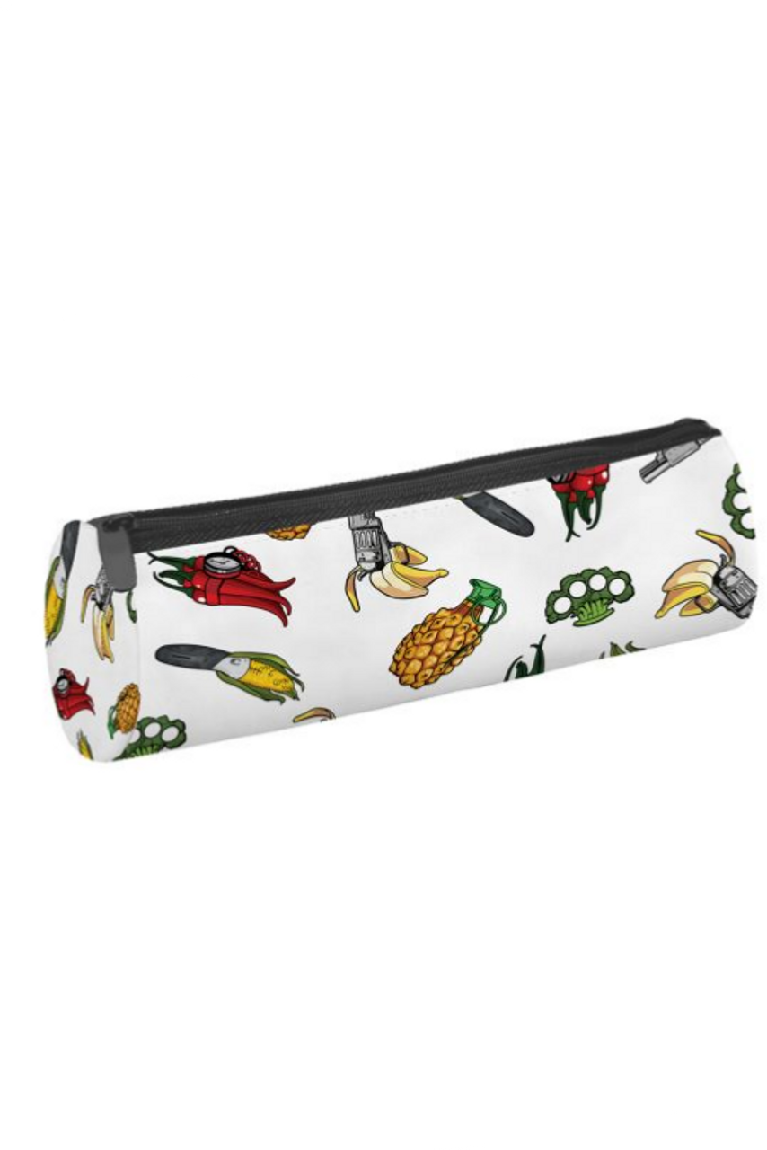 45 degree view of Fuit and Veggie Weapons Cylinder Graphic Print Multi Use Cosmetics Case  - 3 Styles