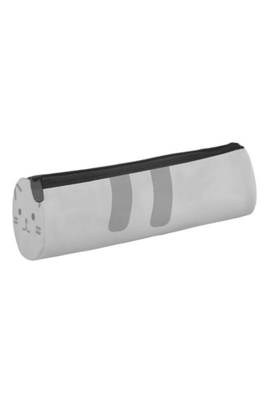 45 degree view of Gray Kitty Cylinder Graphic Print Multi Use Cosmetics Case  - 3 Styles