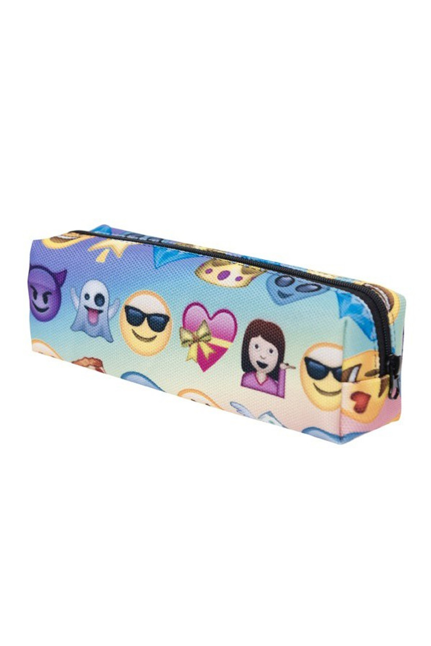 45 degree view of Blue Ombra Emoji Characters Rectangular Graphic Print Cosmetics Case - 21 Styles