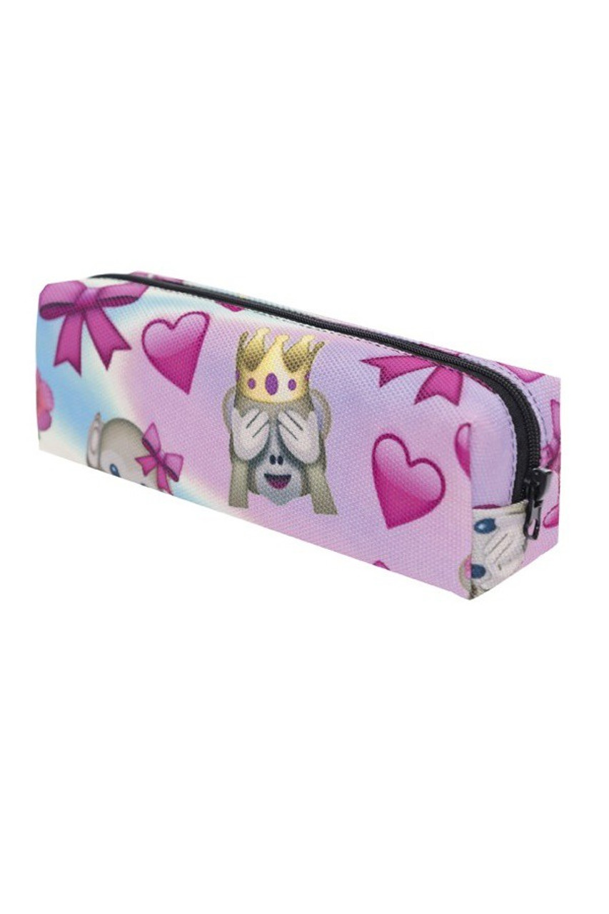 45 degree view of Pink Monkey Queen Emoji Characters Rectangular Graphic Print Cosmetics Case - 21 Styles