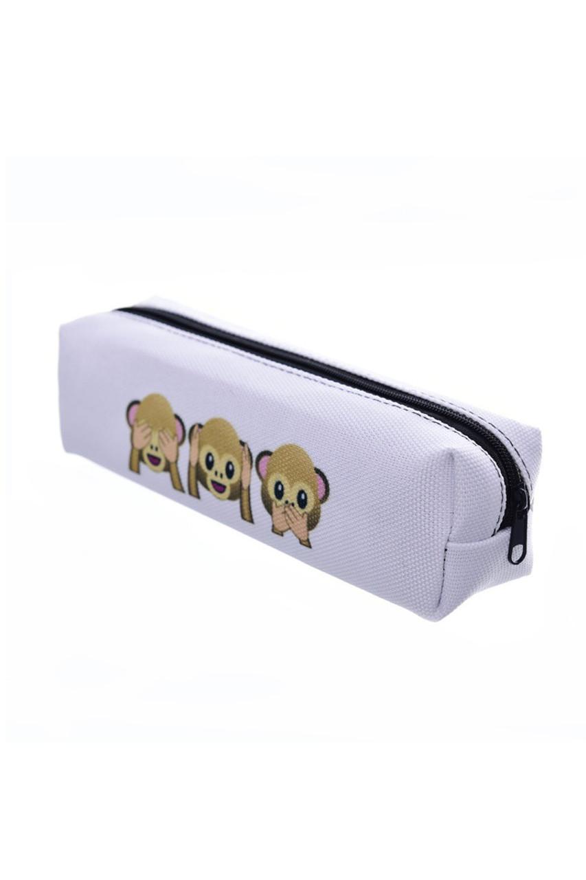 3 Monkeys White Emoji Characters Rectangular Graphic Print Cosmetics Case - 21 Styles