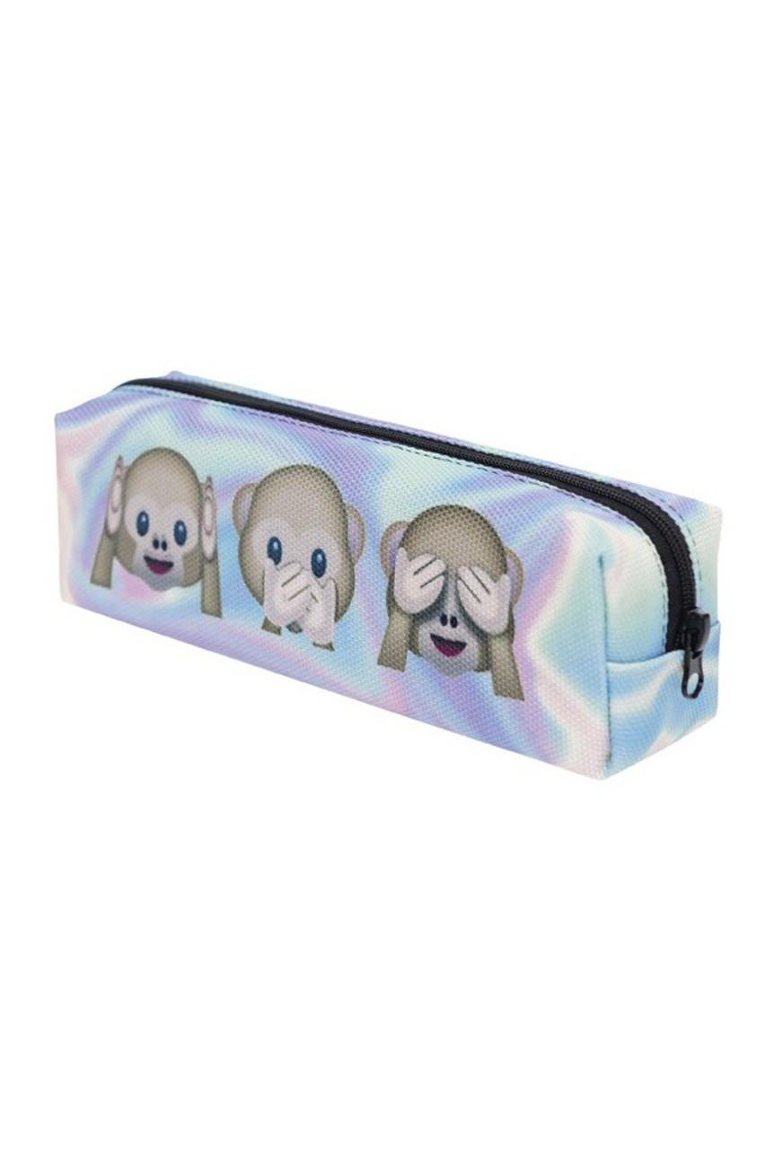 3 Monkeys Holographic Emoji Characters Rectangular Graphic Print Cosmetics Case - 21 Styles