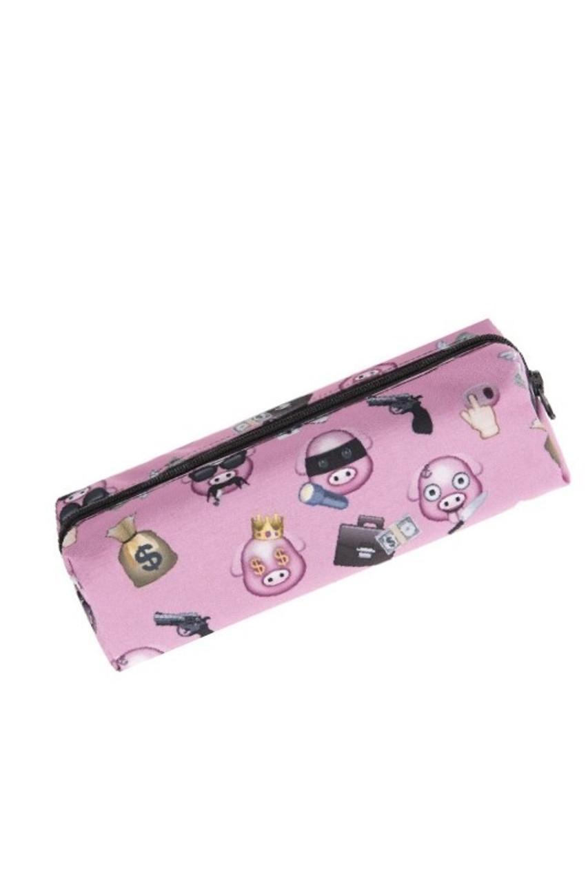 Pig Bandit Emoji Characters Rectangular Graphic Print Cosmetics Case - 21 Styles