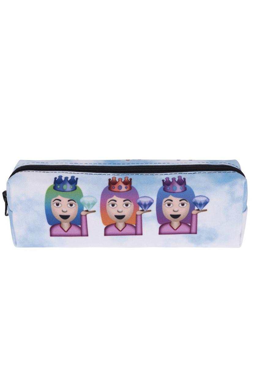 3 Princesses Emoji Characters Rectangular Graphic Print Cosmetics Case - 21 Styles