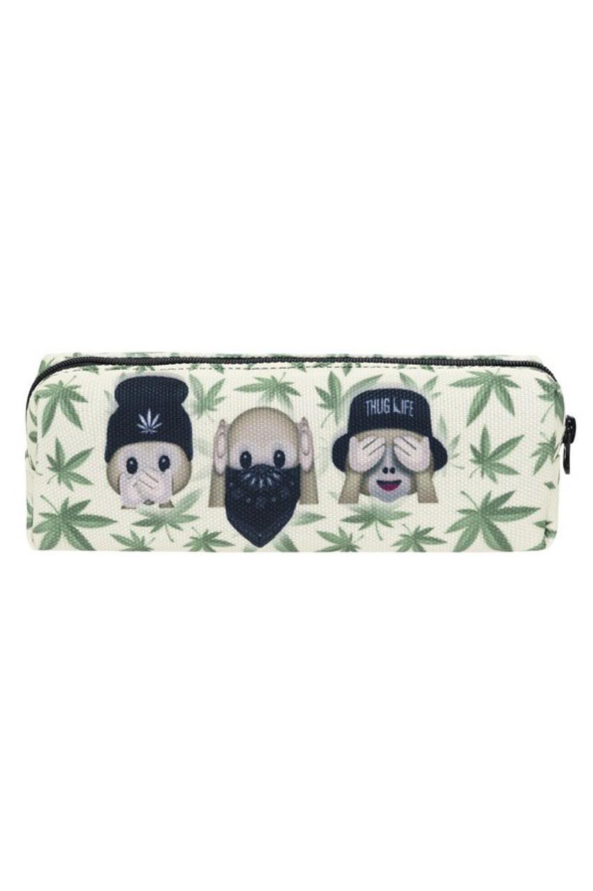 3 Marijuana Monkeys Emoji Characters Rectangular Graphic Print Cosmetics Case - 21 Styles
