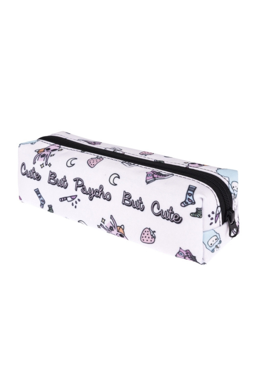45 degree view of Cute, but Psycho Sassy Text Rectangular Graphic Print Cosmetics Case - 18 Styles