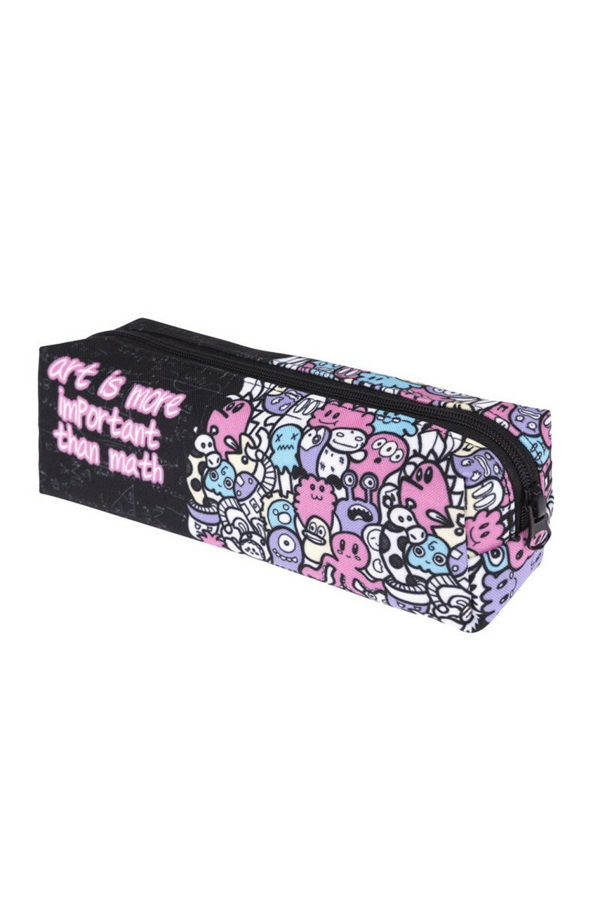 45 degree view of Art is More Important than Math Sassy Text Rectangular Graphic Print Cosmetics Case - 18 Styles