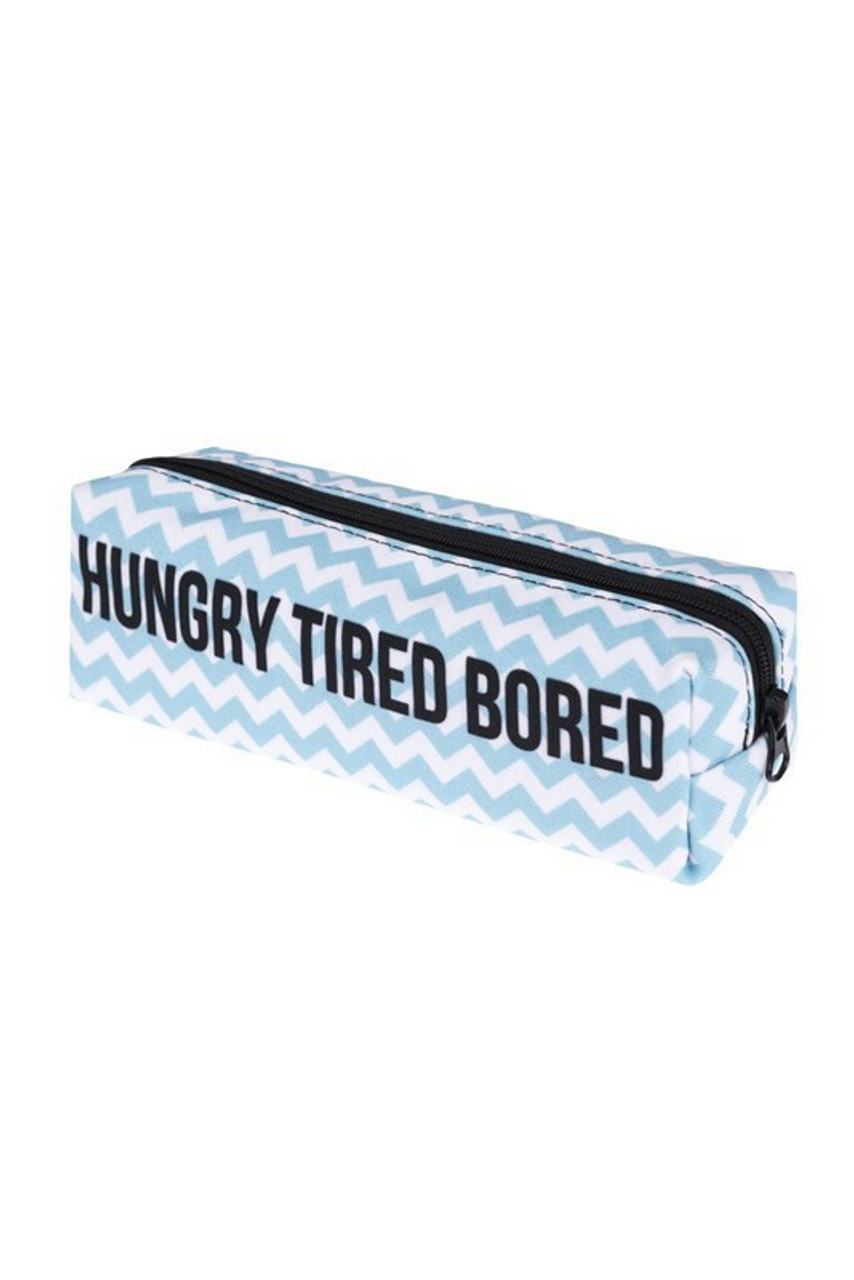 45 degree view of Hungry Tired Bored Sassy Text Rectangular Graphic Print Cosmetics Case - 18 Styles