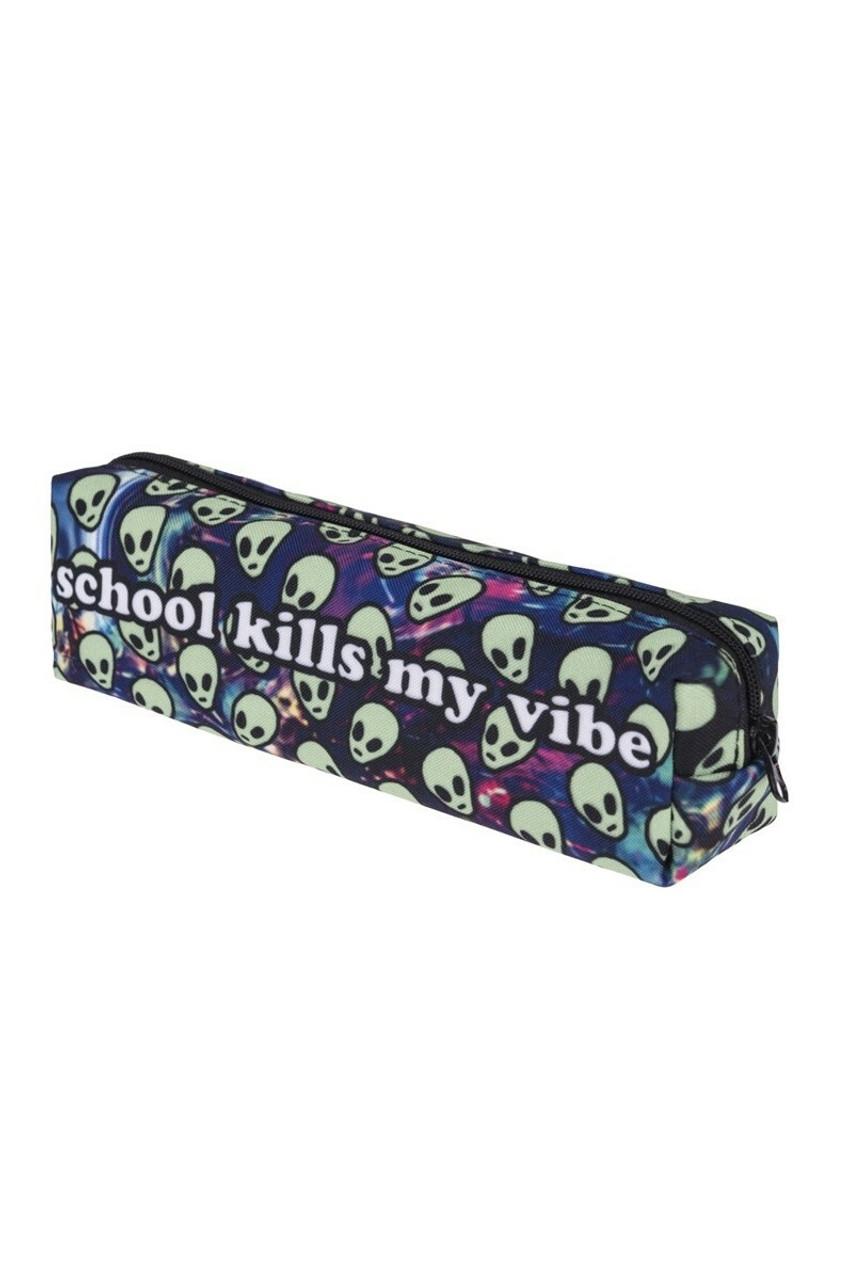 School Kills My Vibe Sassy Text Rectangular Graphic Print Cosmetics Case - 18 Styles with an alien print
