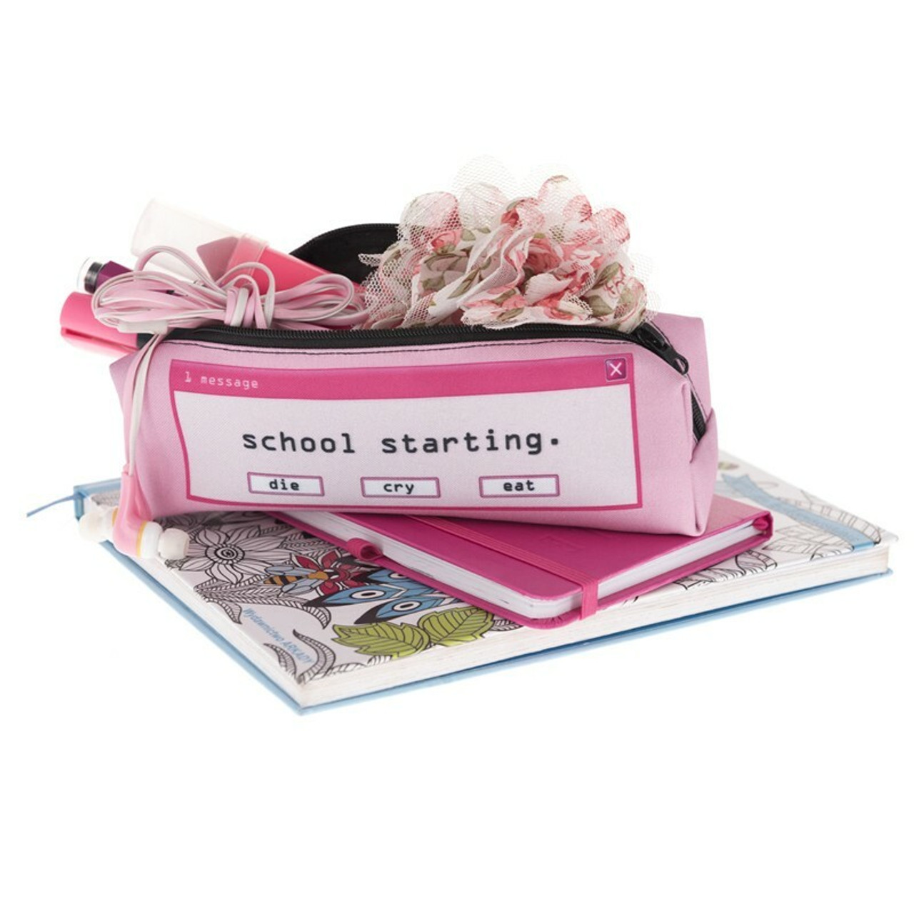 Open School Starting Sassy Text Rectangular Graphic Print Cosmetics Case - 18 Styles atop diary style books with small ites sticking out