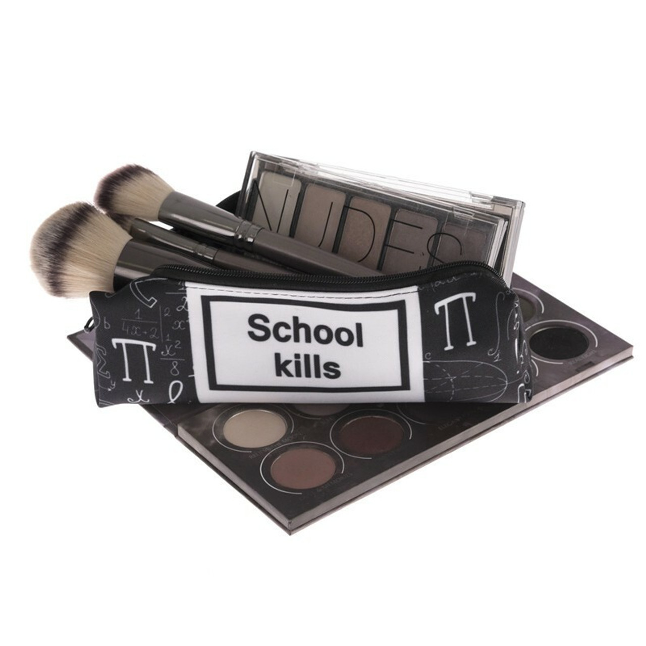 School Kills Sassy Text Rectangular Graphic Print Cosmetics Case - 18 Styles on top of an eyeshadow palette with cosmetics brushes and a makeup palette sticking out