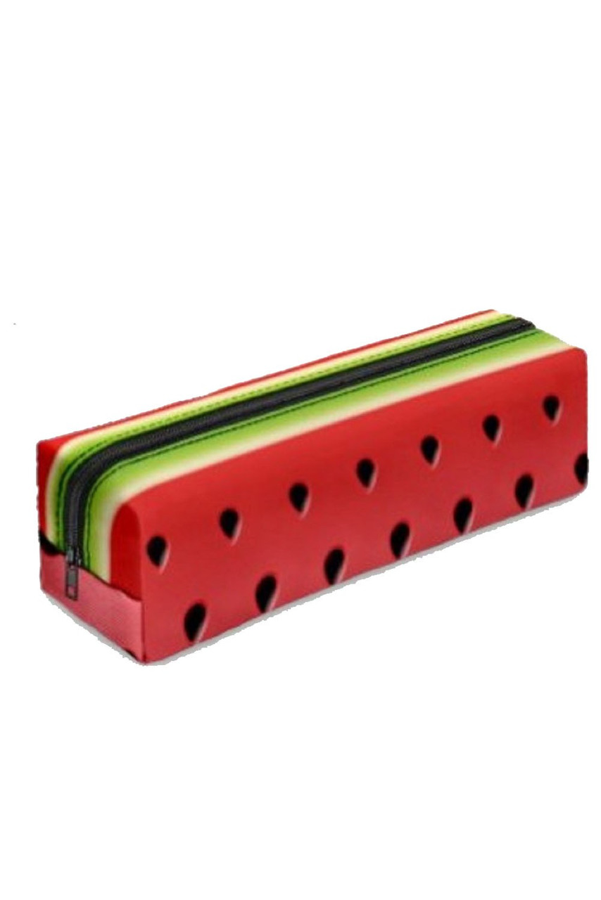 45 degree view of Watermelon Rectangular Graphic Print Pencil Cosmetics Case - 26 Assorted Styles