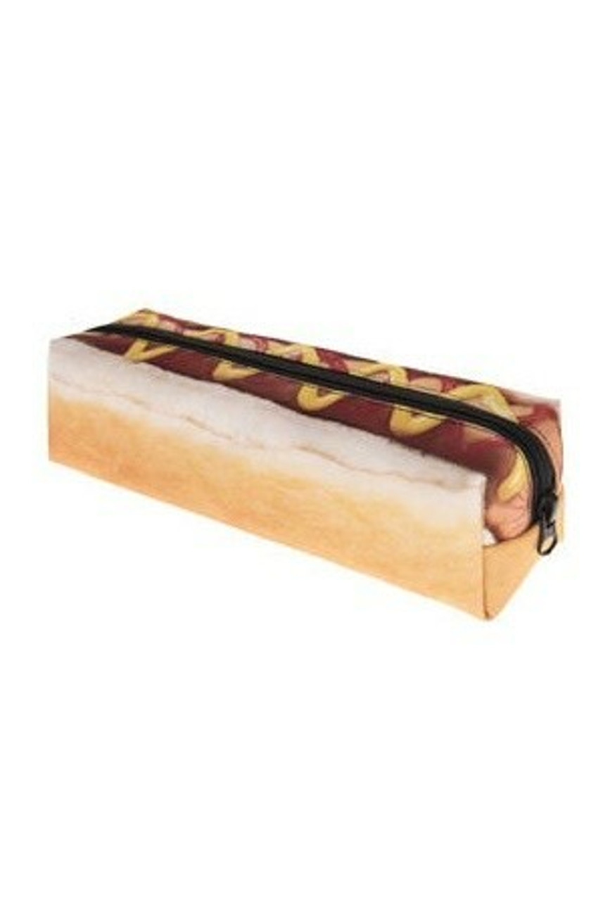45 degree view of Hot Dog Rectangular Graphic Print Pencil Cosmetics Case - 26 Assorted Styles