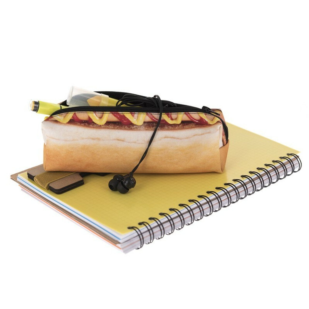 Hot Dog Rectangular Graphic Print Pencil Cosmetics Case - 26 Assorted Styles on top of a notebook