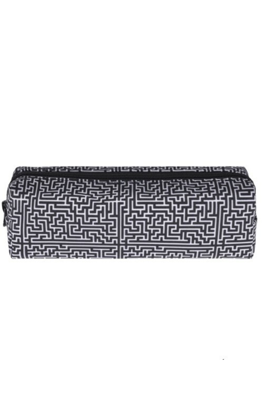 Black and White Maze Rectangular Graphic Print Pencil Cosmetics Case - 26 Assorted Styles